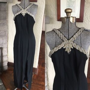 Vintage Gown Grecian Neck Floor Length Beaded Gown
